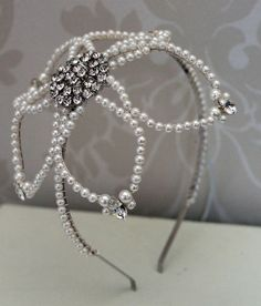 Handmade diamante side tiara bridal headdress wedding tiara crystal wedding headpiece