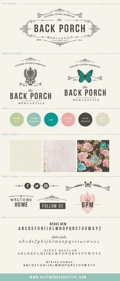 Logo and Branding Board for Back Porch Mercantile by :copyright:Kate Moore Creative 2013. curated luxury goods shop in Knoxville, TN.  beautiful, collected, rough luxe, feminine ,southern, boho, high end, bold.