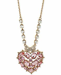 Betsey Johnson Gold-Tone Pink Crystal Heart Pendant Long Necklace - Fashion Jewelry - Jewelry & Watches - Macy's