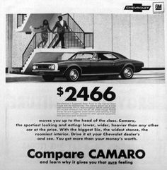 You, yes YOU, could own a brand new Camaro for $2466... back in 1967! This ad ran in our newspaper in '67. #vintage #advertisement