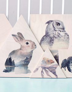 Faunascape Plywood Prints by WhatWeDo, Copenhagen http://artrebels.com/shop/stores/whatwedo/products/6971-faunascape-rabbit