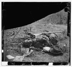Body of a Confederate soldier near Spotsylvania Court House in Virginia, photographed by Timothy O'Sullivan, May 1864