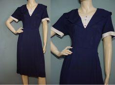 Vinatge 50s Dress 1950s Navy Blue Day Dinner by mustangannees, $68.00