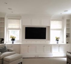 Builtins with windows (but without fireplace) Ferris Custom - entertainment center ideas living room Built In Tv Wall Unit, Built In Shelves Living Room, Tv Built In, Living Room Windows, Fireplace Windows, Fireplace Built Ins, Fireplace Ideas, Living Room Tv, Living Room With Fireplace