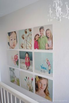 This will work much better than shopping for frames next time we get pictures taken. Combine this with the over the bed idea? glass frames from ikea to make a collage---way cheaper than canvas and more versatile too.