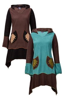 New Nature Inspired Pixie Dress with Long Hood up to Plus Size #WickedDragon #DressLongsleeves
