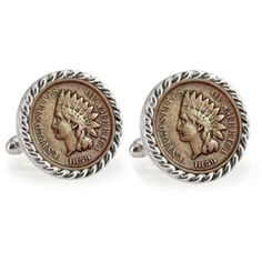 American Coin Treasures Silver  Bronze 1859 First Year Of Issue Indian... ($200) ❤ liked on Polyvore featuring men's fashion