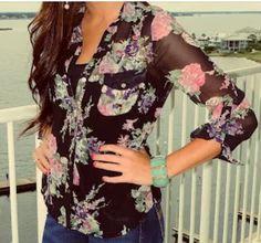 Cute floral blouse.