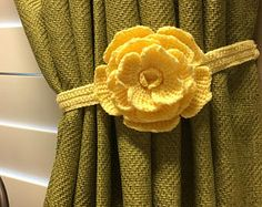 This is pair of handmade quality crochet curtain/ drapery tiebacks,they are beautiful rose flower crochet, the flower measure 5 inch diameter and the overall length of the total band is 23 inches. Crochet Flower Patterns, Crochet Art, Crochet Designs, Crochet Flowers, Rose Curtains, Crochet Curtains, Yellow Rose Flower, Yellow Roses, Crochet Headband Free