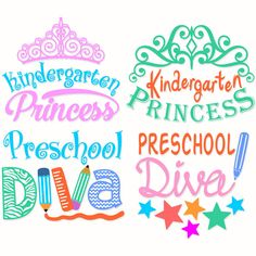 Diva School Pre and Kindergarten Princess SVG Cuttable Design. Silhouette Clip Art, Silhouette Cameo Projects, Vinyl Crafts, Vinyl Projects, Kindergarten Logo, Apex Embroidery, Machine Embroidery, School Scrapbook, Diy Cutting Board