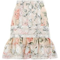ZIMMERMANN Prima Hydrangea Skirt (7.953.705 VND) ❤ liked on Polyvore featuring skirts, mini skirts, high waisted short skirts, high waisted mini skirt, floral skirts and white skirt