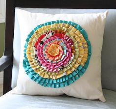 Cluck Cluck Sew: Scrappy Rose Pillow, love the bright colors Cute Pillows, Diy Pillows, Cushions, Pillow Ideas, Old Baby Clothes, Cluck Cluck Sew, Coin Couture, Do It Yourself Inspiration, Pillow Inspiration