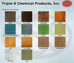Concrete acid stain color options from Triple-S Chemical Products, Inc include 14 different hues.
