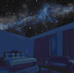 The Starscapes F/X Stargazing Bedroom™. Bedroom False Ceiling Design, Bedroom Ceiling, Teen Room Decor, Bedroom Decor, Galaxy Room, Sky Ceiling, Home Estimate, Awesome Bedrooms, Dream Rooms