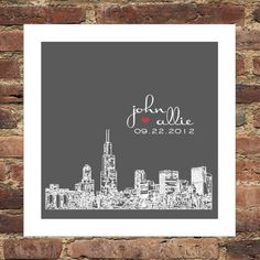 Wedding Gift- Personalized City Skyline Custom FRAMED Print Keepsake -Chicago, Illinois- Any City or Location Available