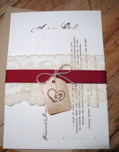 invitation idea for the ribbon lace and twine and tag