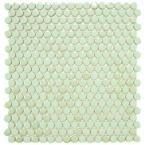Merola Tile Penny Round Light Green 12 in. x 12-1/4 in. x 5 mm Porcelain Mosaic Floor and Wall Tile (10.2 sq. ft. / case)-FKOMPR13 at The Home Depot