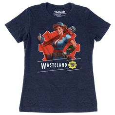 Women's 52% cotton / 48% poly navy heather t-shirt with screenprint on front and Fallout logo on back. Note: Photos may vary from actual product.