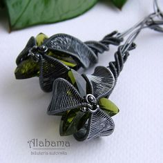 Earrings | Alabama Designs.  'Green Orchid'.  Oxidized sterling silver, sterling silver and Swarovski crystals.