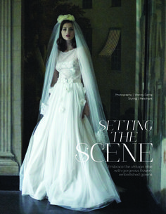 Vintage inspired French lace wedding dress 'Monica' and French lace trimmed veil by KATYA KATYA SHEHURINA featured in You and Your Wedding Magazine