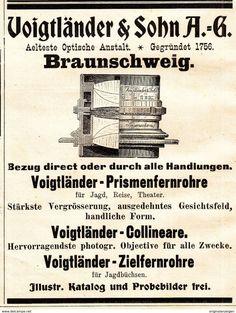 Werbung - Original-Werbung/ Anzeige 1901 - VOIGTLÄNDER PRISMENFERNROHRE / COLLINEARE / BRAUNSCHWEIG - ca. 90 x 115 mm