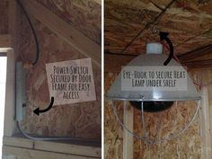 I like this idea for making sure heat lamps in the chicken coop are secure and there are nor cords hanging on the ground within reach of the chickens
