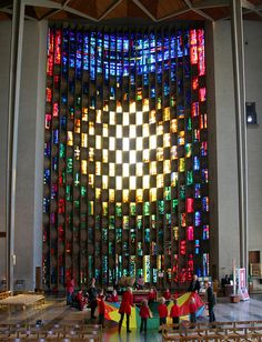 The Baptistry Window, a masterpiece of abstract stained glass designed by John Piper and executed by Patrick Reyntiens. Coventry Cathedral, England.  Coventry's Cathedral is a unique synthesis of old and new, born of wartime suffering and forged in the spirit of postwar optimism, famous for its history and for being the most radically modern of Anglican cathedrals. Two cathedrals stand side by side, the ruins of the medieval building, destroyed by incendiary bombs in 1940 & the bold new…