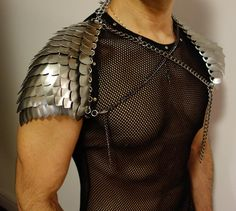 Thorin Silver Scale Pauldrons - Men's Scale Mail Chainmail Shoulder Armor LARP Post Apocalyptic cosplay medieval ren faire GOT Burning Man Burning Man Outfits, Shoulder Armor, Shoulder Pads, Scale Mail, Pauldron, Cosplay, Post Apocalyptic, Apocalyptic Clothing, Chain Mail