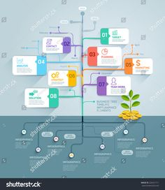 Illustration of Business tree timeline infographics. Can be used for workflow layout, banner, diagram, web design template. Design Web, Chart Design, Creative Design, Infographic Examples, Infographic Templates, Infographic Powerpoint, Health Infographics, Business Infographics, Timeline Infographic