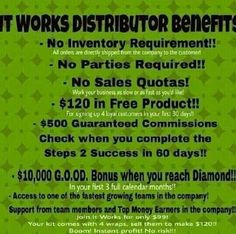 It Works Global distributor benefits. If you have ever thought of a home based business, this IS IT! The best decision of your life starts now! Jenrice.myitworks.com