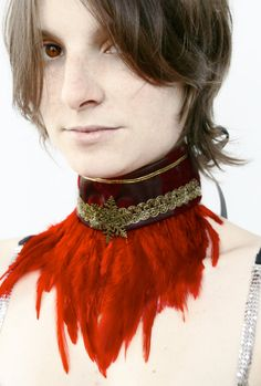 READY TO SHIP - choker collar renaissance neck corset victorian steampunk feather snowflake xmas red passion love valentine