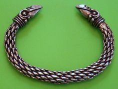 Viking Odin's Raven Head Solid Hand Crafted Silver Pewter Bracelet Bangle