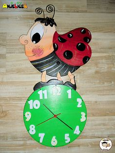 anjelicek / Hodiny - lienka Clock, Christmas Ornaments, Holiday Decor, Wall, Home Decor, Watch, Decoration Home, Room Decor, Christmas Jewelry