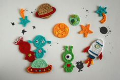 Outer space TomToy Crochet appliques Aliens Planets Stars