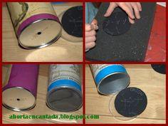 """Um """"planetário"""" numa lata de Pringles. Um furo no fundo da lata (que serve para espreitar) e preso na tampa de plástico colocam-se as  constelações desejadas."""