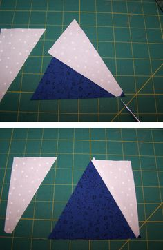 The Tri ruler is used for cutting the center piece and the Recs ruler is used for cutting the side pieces. This technique will result in an equilateral triangle.  Precision Quilt Piecing Techniques Part 6: Triangle in a Square http://www.nationalquilterscircle.com/article/precision-quilt-piecing-part-6-triangle-in-a-square/?utm_content=bufferef779&utm_medium=social&utm_source=pinterest.com&utm_campaign=buffer #LetsQuilt