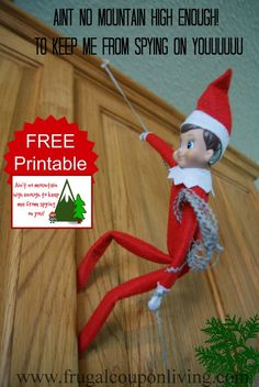 Dozens of Great Elf on the Shelf Ideas found on Frugal Coupon Living. Ain't No Mountain High Enough or Cabinet - Elf spies on those being naughty or nice.