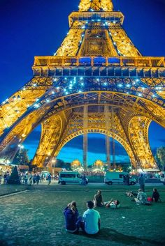 Colorful Paris. Eiffel Tower in blue and gold. On my bucket list.