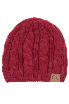 Burgundy Cable Knit Beanie Hat