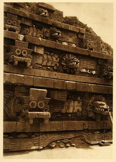 firsttimeuser:    rarething:    Pyramid of Quetzalcoatl at Teotihuacan, Mexico, 1925