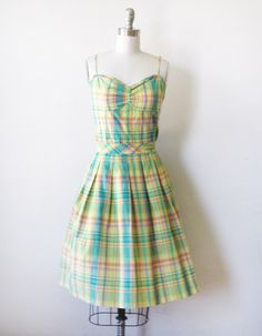 1950s plaid party dress