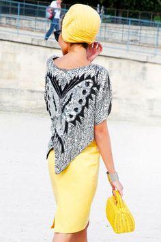 Paris Street Style 2012 - Paris Fashion Week Spring 2013 Style - ELLE | I love the blouse.