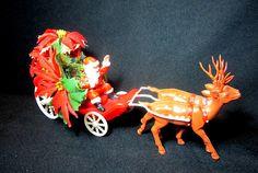 Vintage Santa Claus And Reindeer Sleigh Molded Plastic