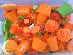 "Smart.Play. ""Carrots"" Sensory Box  www.gumptionkids.com  @Gumption Celebrate Learning"