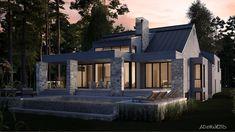 Les maisons métisses Adornetto Farmhouse Architecture, Modern Farmhouse Exterior, Lac Champlain, Construction, Black House, Modern House Design, Mansions, House Styles, Houses