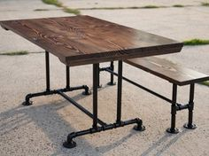 diy dining table with pipe legs and bench pedestal google search - Metal Kitchen Table