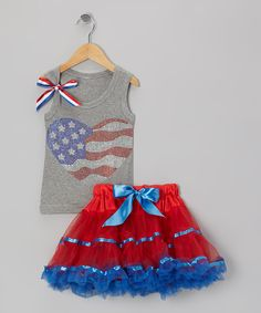 Gray Flag Heart Tank & Red Pettiskirt - Infant, Toddler & Girls | Daily deals for moms, babies and kids