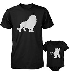 Funny Lion and Cub Matching Dad Shirt and Baby Onesie Cute Animal Graphic Outfit -  https://www.trendingviralhub.com/funny-lion-and-cub-matching-dad-shirt-and-baby-onesie-cute-animal-graphic-outfit/ -  - Trending + Viral Hub
