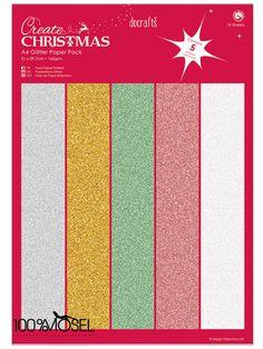 Papermania A4 Glitter Paper Pack (15pk) - Christmas  Glitzerpapier in 5 verschiedenen Weihnachtsfarben: silber, gold, grün, rot und weiß 160 g schweres Papier in der Größe 21 x 29,7 cm (DIN A4) mit...