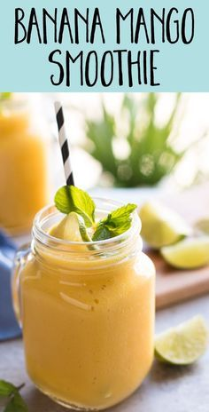 This easy banana mango smoothie recipe is made without yogurt, 100% fruit (so…